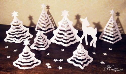 delicate christmas tree 3d paper art. Black Bedroom Furniture Sets. Home Design Ideas
