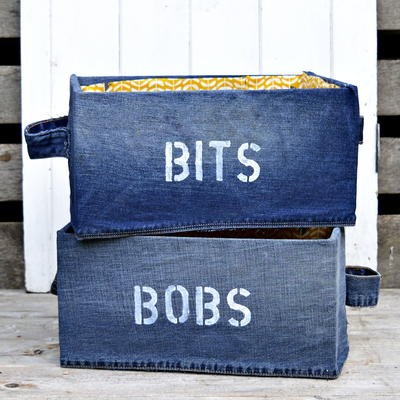 Upcycled Denim Storage Boxes IKEA Pingla Hack