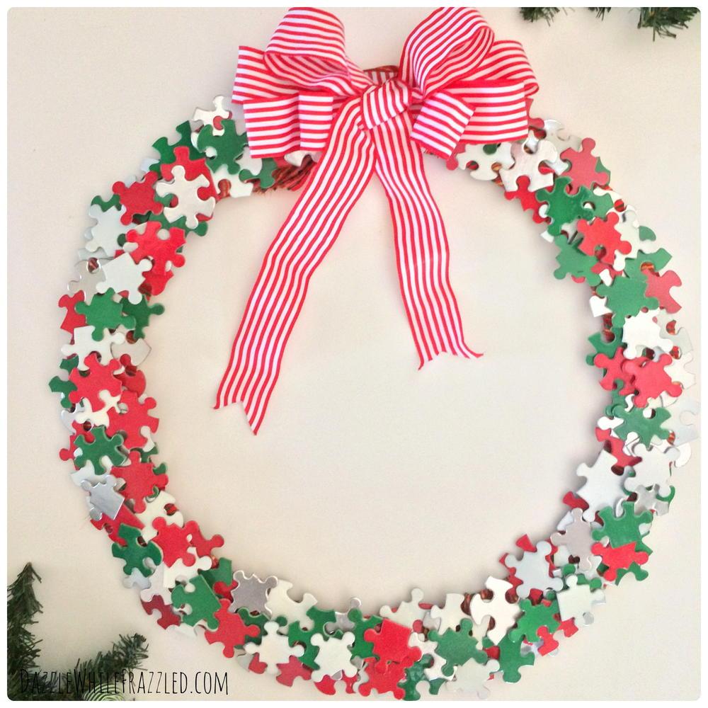 Holiday puzzle pieces diy wreath diyideacenter