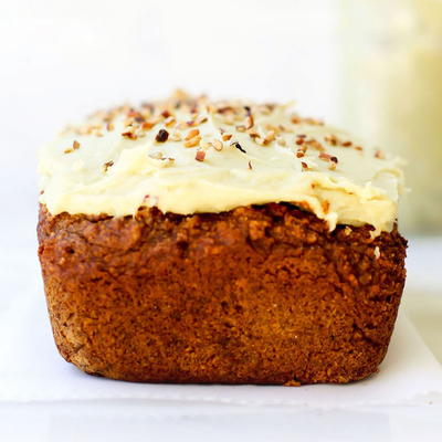 Chai Spiced Quick Bread with Japanese Sweet Potato Frosting