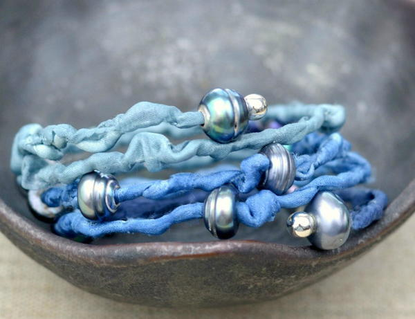Beaded Blue Wrap Bracelet