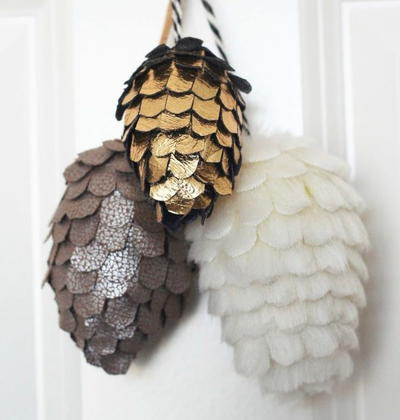 Pleather and Faux Fur Pine Cone Ornaments