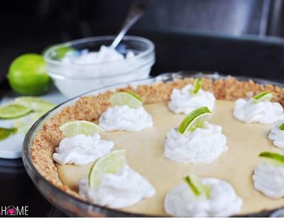 Key Lime Pie with Pretzel Crust and Coconut Whipped Cream