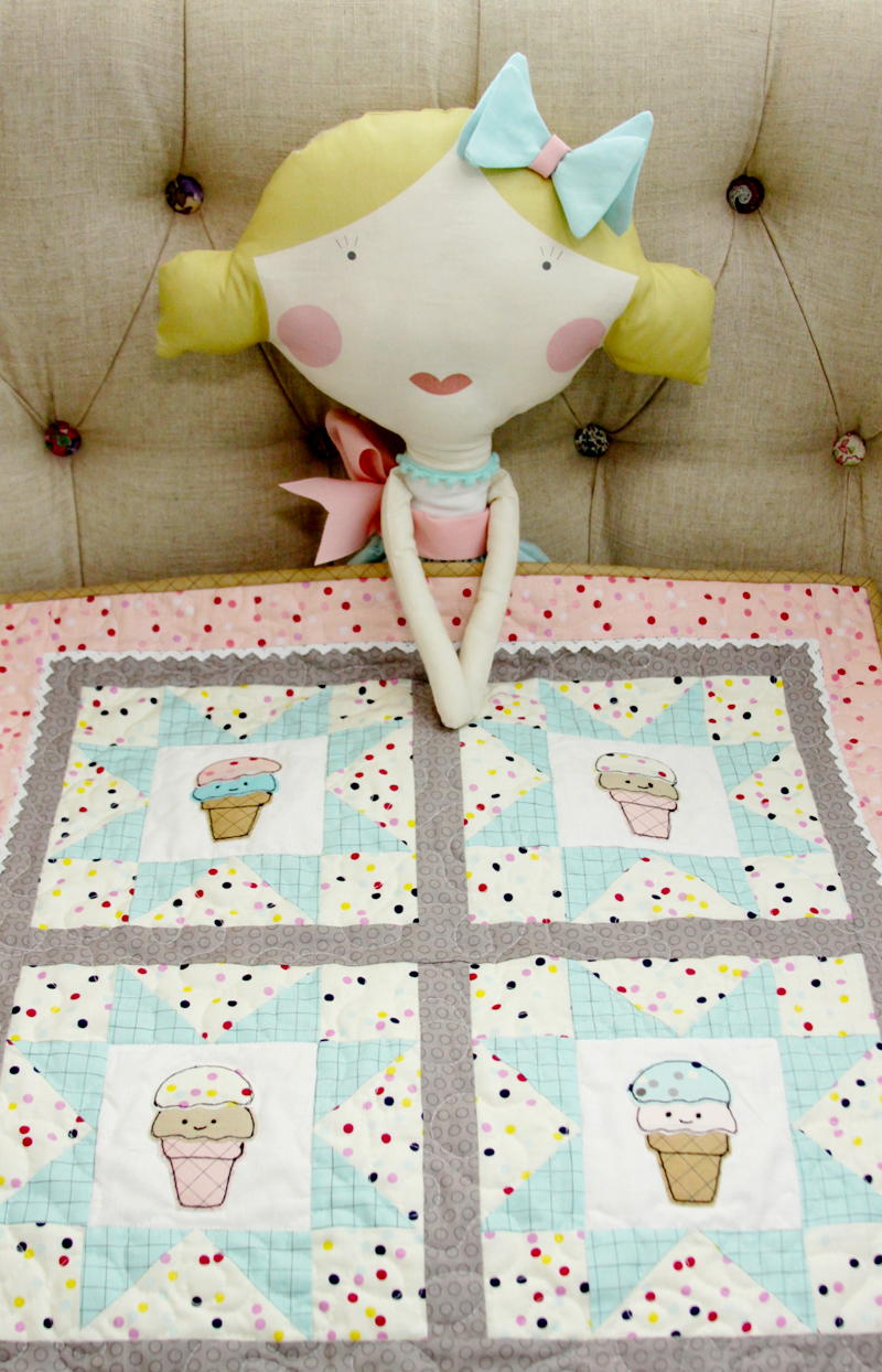 ice cream social doll quilt