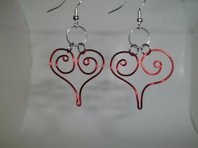 Crimson Spiral Heart Earrings