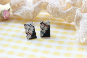 Fabric and Leather Stud Earrings