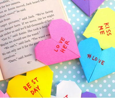 Conversation Heart Origami Corner Bookmarks