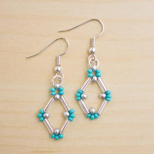 Diamond-Shaped Bugle Bead Earrings