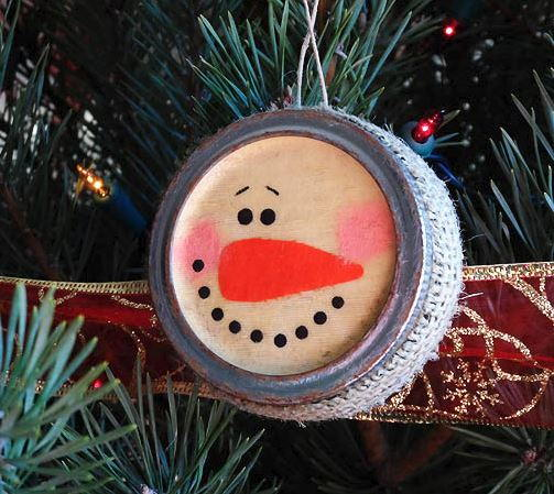 Antique Canning Lid Snowman Ornament Craft