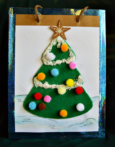 Snow-Covered Tree Gift Bag Idea
