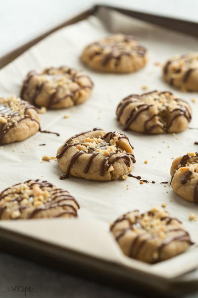 Peanut Butter Turtle Thumbprint Cookies