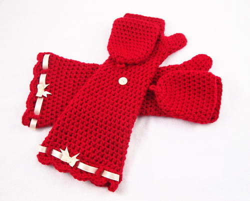 Ruby Red Fingerless Mittens