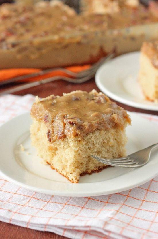 Southern Bourbon Butter Pecan Sheet Cake