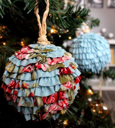 Frilly and Flouncy Fabric Ball Ornaments