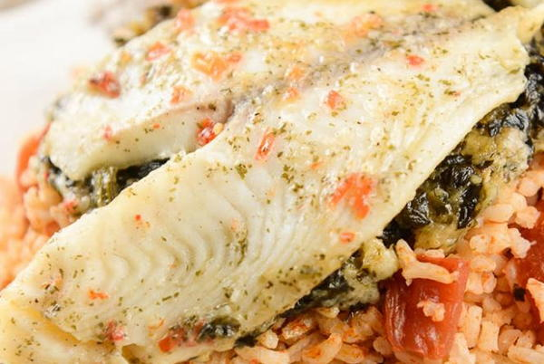 Slow Cooker Tomato Rice with Stuffed Tilapia