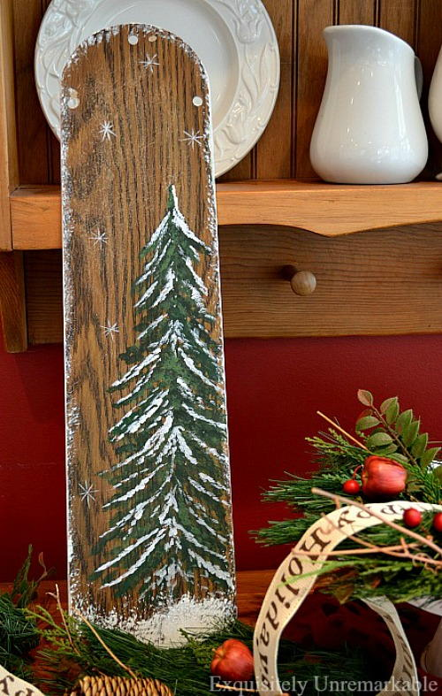 Recycled Ceiling Fan Blade Christmas Art