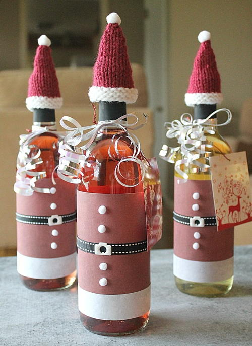 Wine Bottle Santa Hats