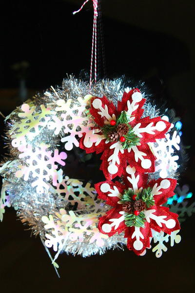 Tinsel Garland DIY Wreath