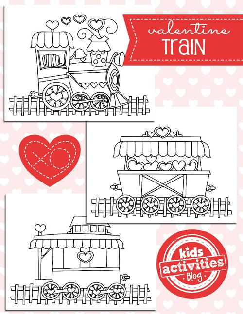 Valentine Train Coloring Pages