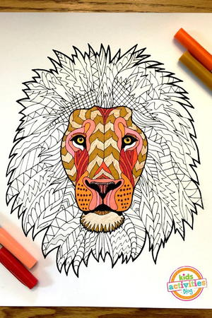 Lion Zentangle Coloring Page