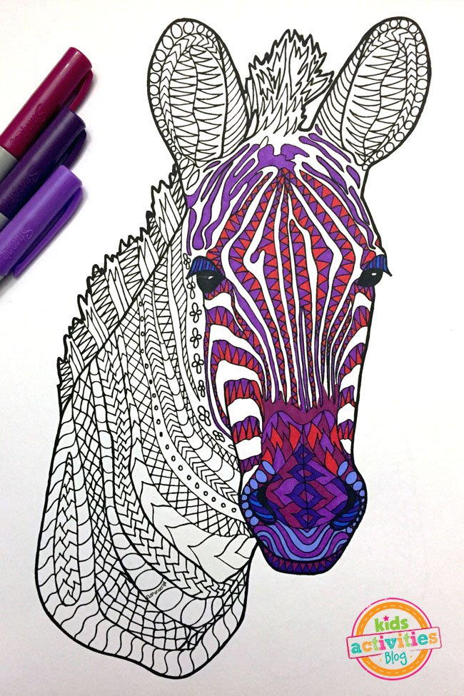 zebra zentangle coloring page favecraftscom