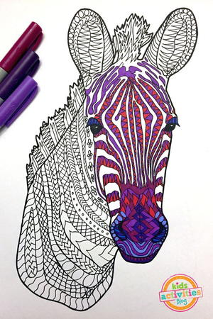 Zebra Zentangle Coloring Page