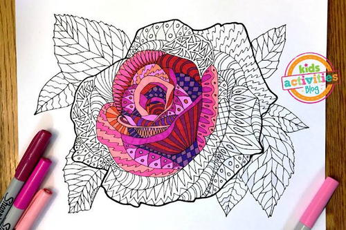 Elegant Rose Zentangle Coloring Page Favecrafts Com