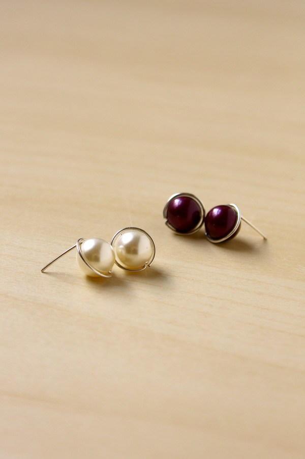 Wire Wrapped Pearl Earrings Allfreejewelrymaking Com