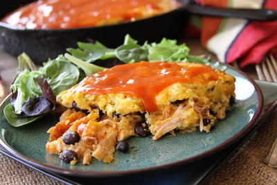 Chicken Enchilada Cornbread Bake