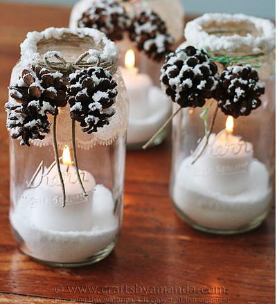 Snowy Pine Cone Homemade Luminaries