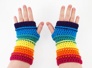 Colors of the Rainbow Fingerless Gloves