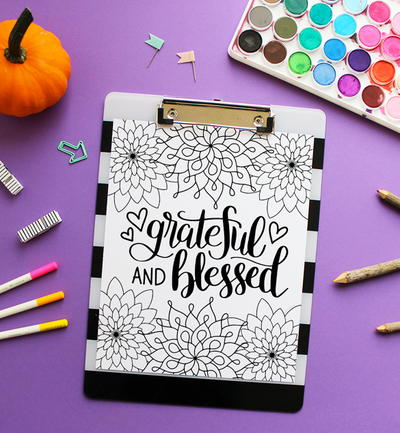 Grateful and Blessed Coloring Page