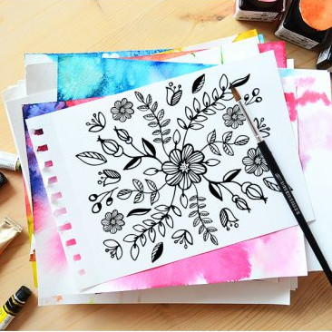 Floral Web Coloring Page