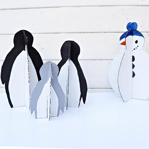 Cute Upcycled Penguin Decoration