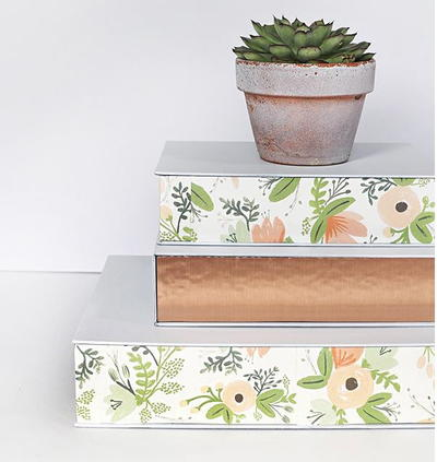 Upcycled Floral Organizational Boxes