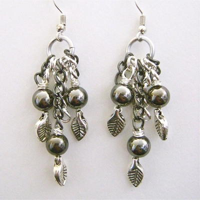 Silver Leaf Pearl Earrings
