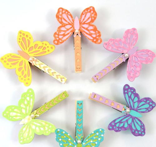 DIY Paper Butterfly Clothespin Magnets