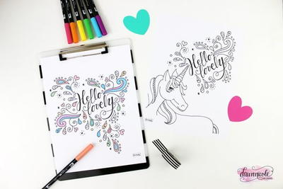Hello Lovely Unicorn Coloring Page