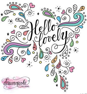 Hello Lovely Doodles Coloring Page