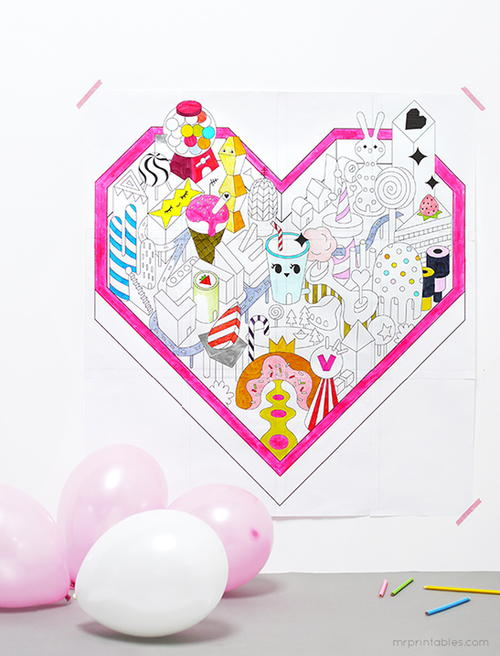 Candy Land Valentine Coloring Page