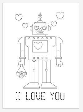 Robot Love Coloring Page