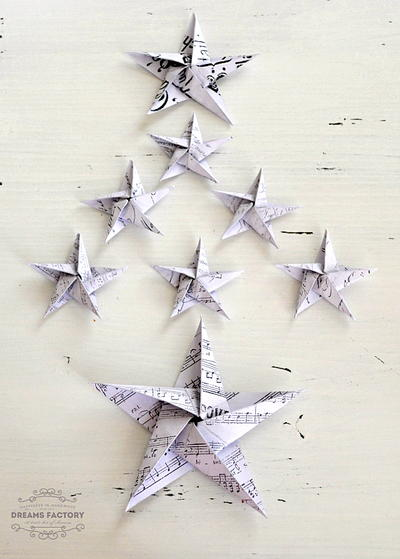French DIY Paper Stars Ornaments