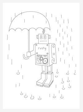 Rusty the Robot Coloring Page