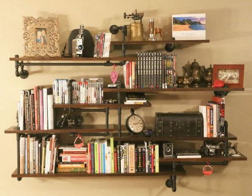 Industrial Chic Built-In Homemade Shelves