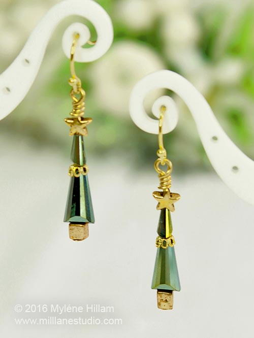 Modern Splendour Christmas Tree Earrings