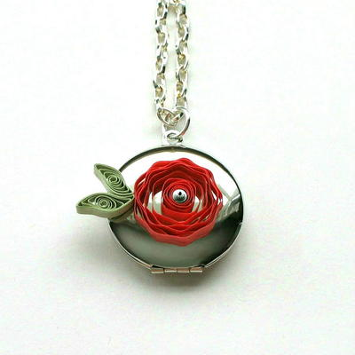 Quilled Paper Rose Locket