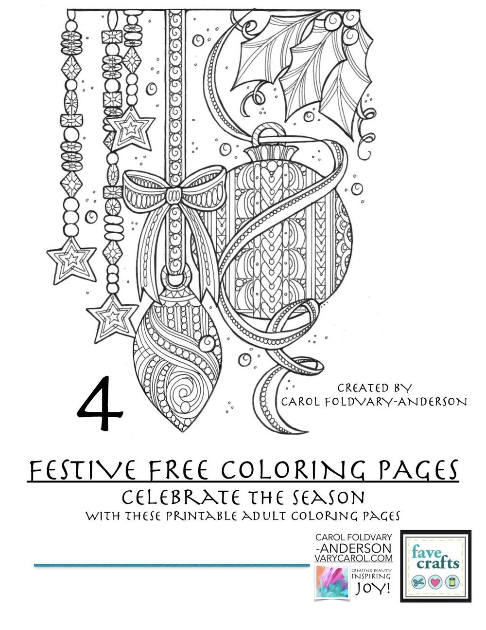 4 festive free holiday coloring pages for adults pdf. Black Bedroom Furniture Sets. Home Design Ideas