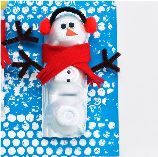 Snowman egg carton winter craft for Christmas decorations using egg cartons