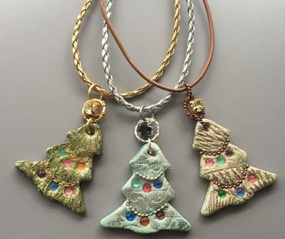 No Bake Resin Clay Christmas Tree Pendants