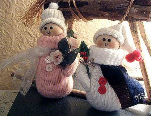 Recycled Mitten Snow People Craft